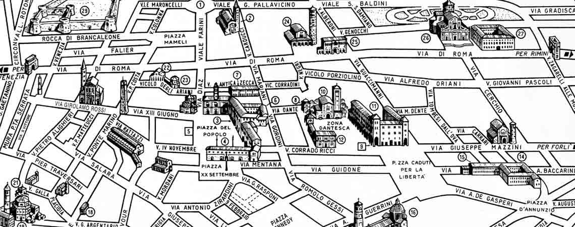 Mappa di Ravenna centro storico