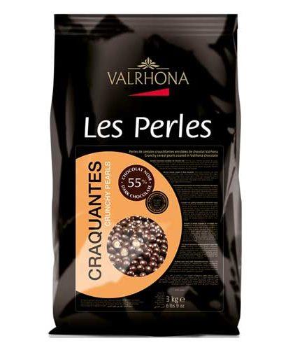 Valrhona - Perle croccanti di cioccolato fondente 55%