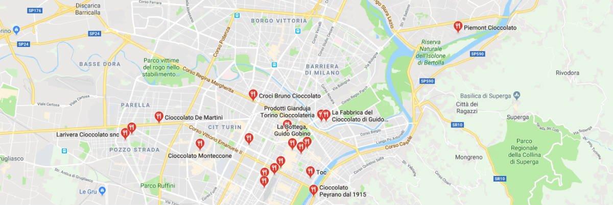 Comprare cioccolato a Torino - Mappa