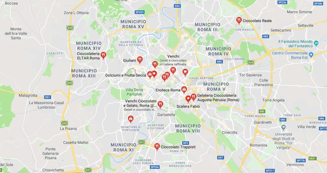 Mappa Negozi Specializzati Cioccolato a Roma