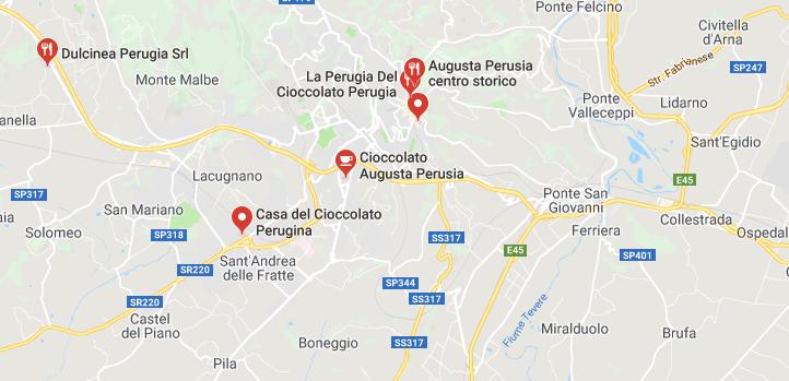 Mappa del cioccolato a Perugia