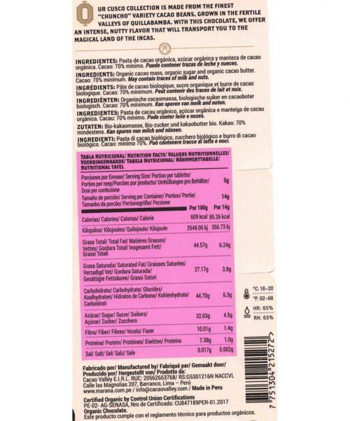 note alimentari Maranà - Cioccolato Fondente - Cusco 70%