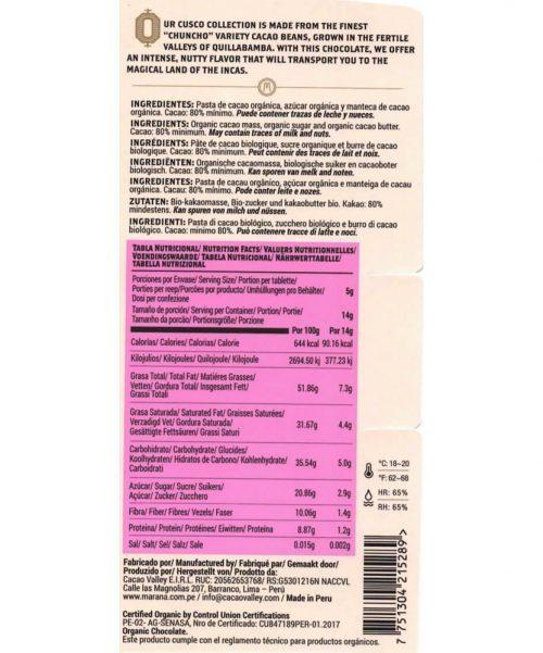 note alimentari Maranà - Cioccolato Fondente - Cusco 80%