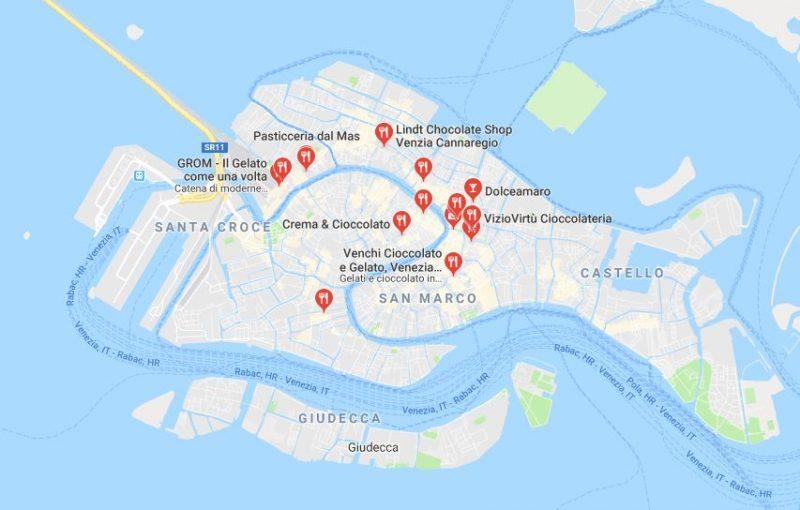 Mappa negozi di cioccolato a Venezia