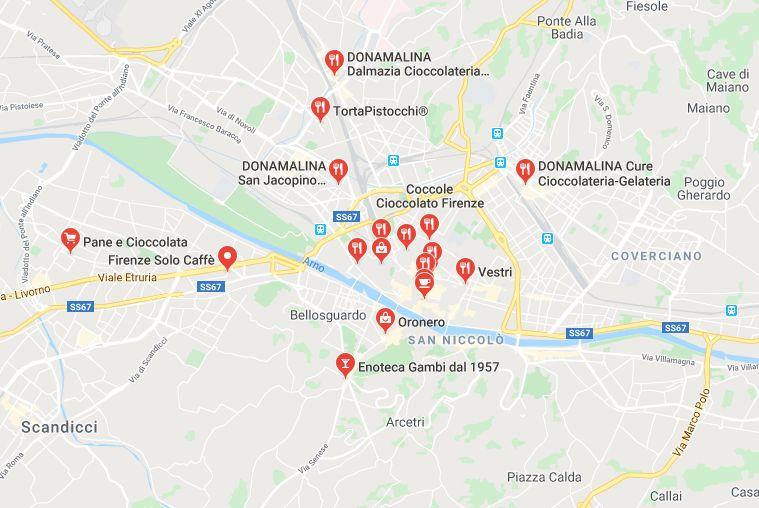 Mappa Negozi Cioccolato Firenze