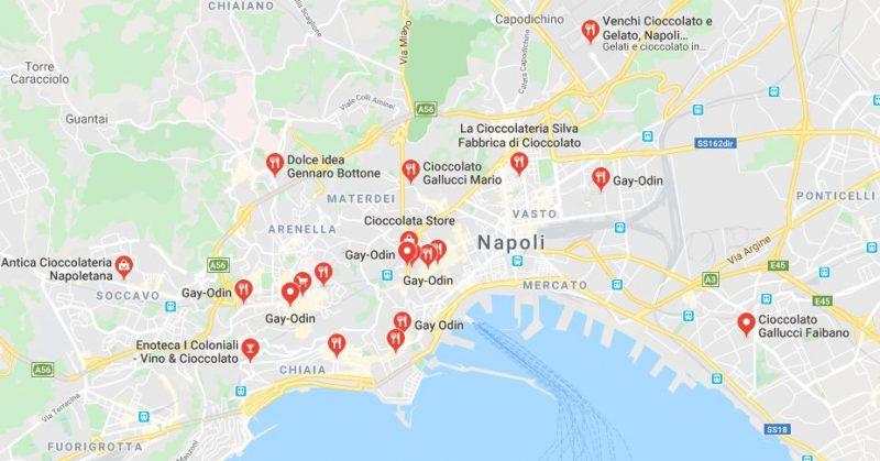 Mappa negozi cioccolato Napoli
