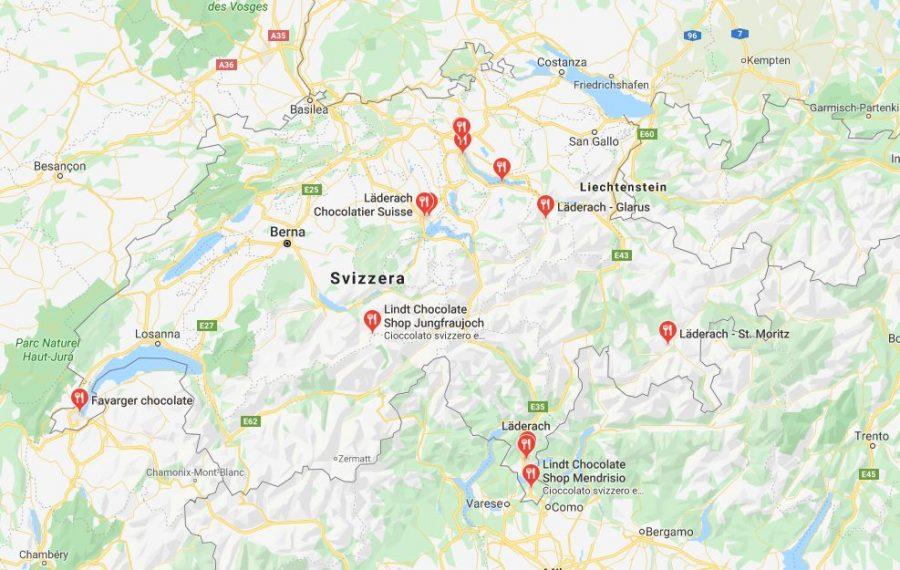 Mappa - Dove comprare cioccolato in Svizzera