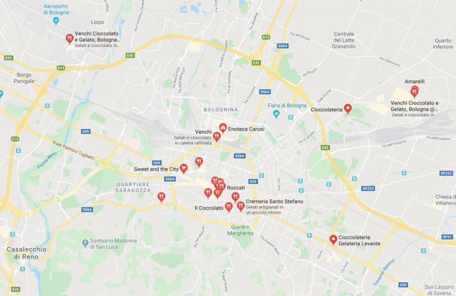 Dove comprare cioccolato a Bologna - Mappa