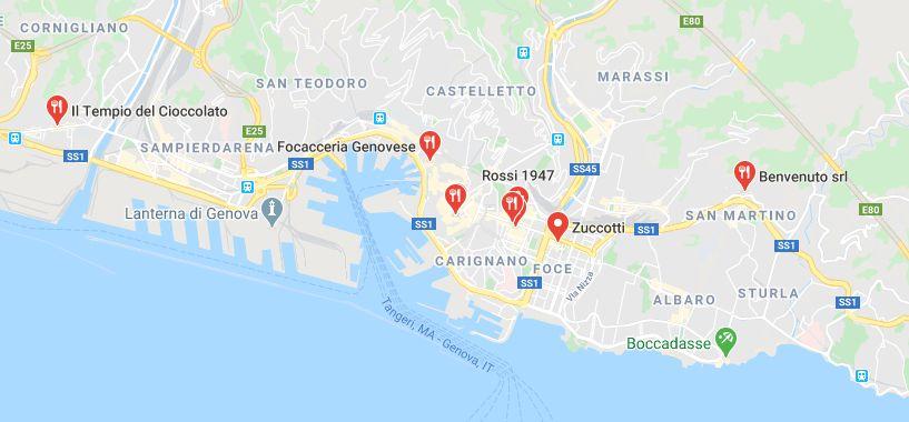 Mappa dei negozi di cioccolato a Genova