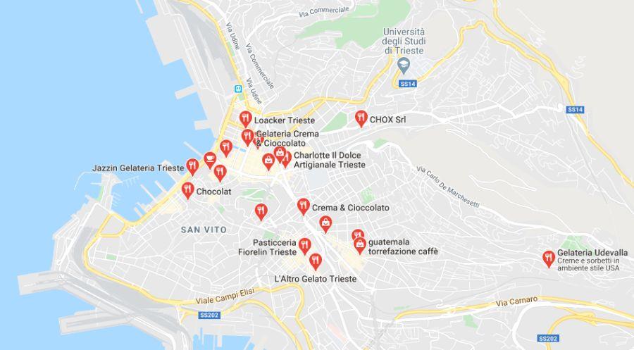 Mappa Negozi di Cioccolato a Trieste