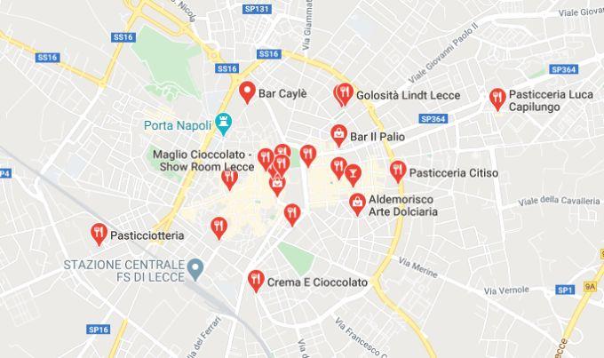 Mappa dei negozi di cioccolato a Lecce