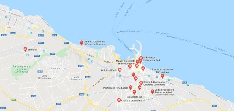 Mappa Negozi di Cioccolato Bari