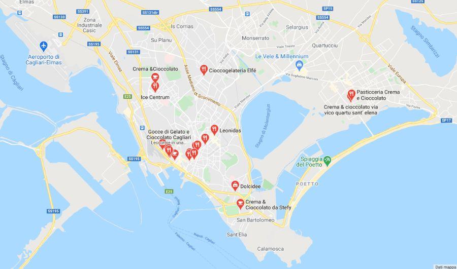 Mappa negozi di cioccolato a Cagliar