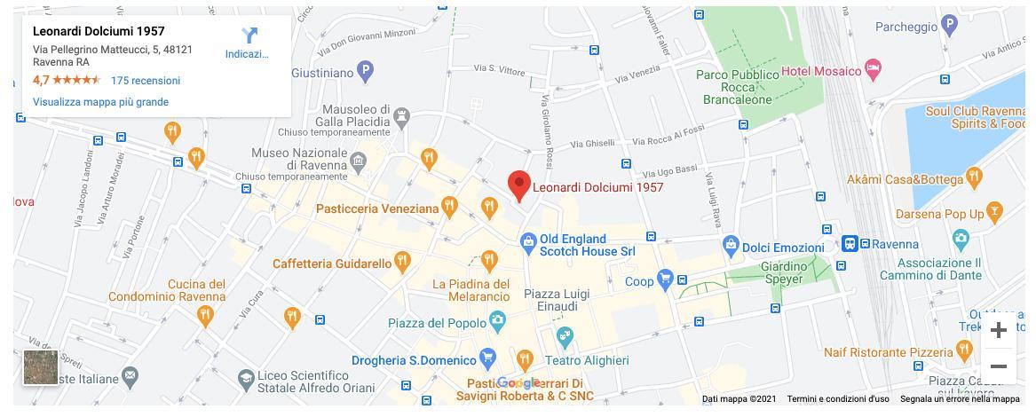 Contatti - Mappa di Leonardi Dolciumi a Ravenna