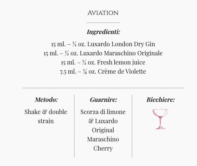 Ricetta Cocktail Aviation - Ingredienti